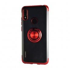 غطاء حماية هاتف هواوي 2019 Y6 مع خاتم من إي كيو -  أحمر