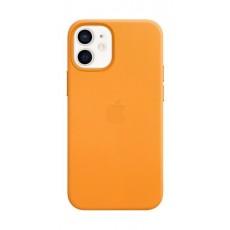 غطاء الحماية ماج سيف جلد لهاتف أبل آيفون 12 ميني - برتقالي