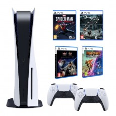 Sony PlayStation 5 Console + Sony PS5 DualSense Wireless Controller + Marvels Spiderman Miles Morales + Ratchet & Clank: Rift Apart + Demon Souls + NIOH Collection - PS5 Game