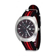 ساعة سيكو للرجال بعرض تناظري – سوار قماش - أسود / أحمر (A287J)