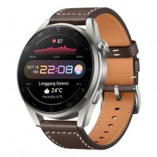 Huawei 48mm smart GPS Watch 3 Brown always on display rounded screen offer a classic look fully rotatable crown front facing left view
