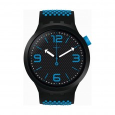 ساعة سواتش ببلو كوارتز للجنسين بعرض تناظري و حزام مطاطي - 47 ملم - (SO27B101)