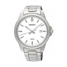 ساعة سيكو العصرية للرجال بحزام معدني و شاشة عرض تناظرية - ٤٢ ملم - (SUR241P) - فضي