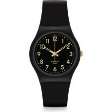 ساعة سواتش بعرض تناظري مع حزام من المطاط للجنسين - ٣٤ ملم - أسود (SWAGB274)