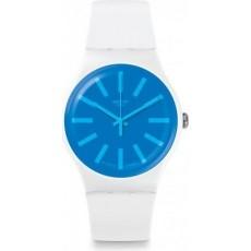 ساعة سواتش بعرض تناظري مع حزام من المطاط للجنسين - ٤١ ملم - أبيض (SWASUOW163)