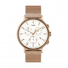 ساعة تايمكس إنديغلو للجنسين بعرض تناظري - ٤١ ملم مع حزام معدني (TW2T37200)
