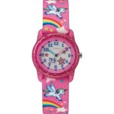 ساعة تايمكس للاطفال مقاس ٢٨ ملم تناظرية بسوار من النسيج (TW7C25500) - وردي