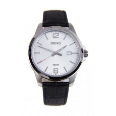 ساعة سيكو كوارتز للرجال بعرض تناظري وسوار جلدي - أسود (UR249P)