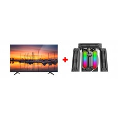 Wansa 55-inch 4K UHD Smart LED TV - (WUD55I8850S) + Wansa 3.1Ch 100W FM USB Mini Multimedia System (TK-881)