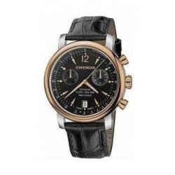 ساعة فينجر أوربان فينتيج للرجال بعرض كرونوغراف وحزام جلدي – أسود (01.1043.113)