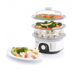 جهاز طهي الطعام بالبخار ٣ طوابق بقوة ٧٧٥ واط من بلاك آند ديكر – أبيض - (HS6000)