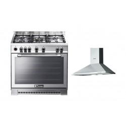 طباخ الغاز ٩٠ × ٦٠ + شفاط روائح المطبخ ٩٠ سم - ستانلس ستيل من تكنوجاز