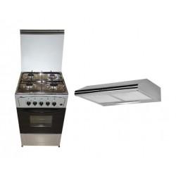 طباخ الغاز ٥٠ × ٥٠ + شفاط روائح المطبخ ٦٠ سم - ستانلس ستيل من وانسا