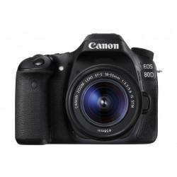 كاميرا كانون الرقمية إس إل آر بدقة ٢٤.٢ ميجا بكسل مع عدسة ١٨-٥٥ ملم - واي فاي - أسود (EOS-80D)