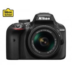 كاميرا نيكون دي٣٤٠٠ الرقمية إس إل آر بدقة ٢٤.٢ ميجابكسل مع عدسة ١٨-٥٥ ملم  –  أسود (D3400)