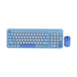 Promate Sleek Wireless Multimedia Keyboard & Mouse Combo - Pastel Blue