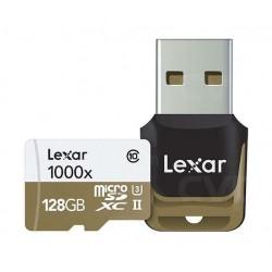 بطاقة ذاكرة احترافية من ليكسار سعة ١٢٨ جيجابايت - ميكرو إس دي إكس سي – تقنية يو إتش إس II- سرعة ١٠٠٠إكس – فئة ١٠ -  مع قاريء بطاقات