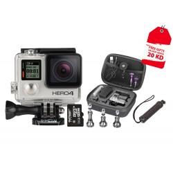 كاميرا جو برو هيرو ٤ النسخة السيلفر + كرت ذاكرة ميكرو إس دي ٣٢ جيجا بايت + عصا إلتقاط الصور الشخصية لكاميرا جو برو + مجموعة براغي الألومنيوم + حقيبة الكاميرا إكستريم أكشن