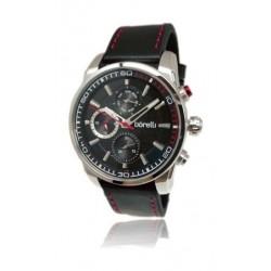 ساعة بوريلي كوارتز بعرض تناظري وحزام رياضي من الجلد للرجال - ٤٤ ملم - أسود (20046241)