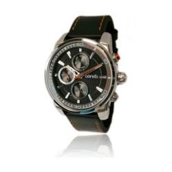 ساعة بوريلي كوارتز بعرض تناظري وحزام رياضي من الجلد للرجال - ٤٤ ملم - أسود (20046242)