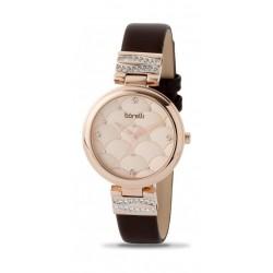 ساعة بوريلي كوارتز للنساء بنظام عرض تناظري ٣٤ ملم - حزام من الجلد (20050787) - بني