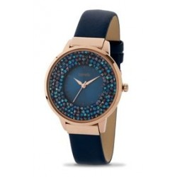 ساعة بوريلي كوارتز للنساء بنظام عرض تناظري ٣٨ ملم - حزام من الجلد (20050863) - أزرق