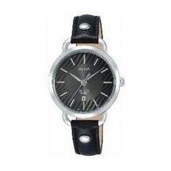 ساعة ألبا العصرية للنساء بعرض تناظري وسوار جلدي - أسود (AH7N57X1)