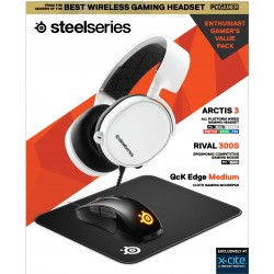 Steelseries All-In-One Gaming Kit  (Arctis 3 White + Rival 300S + QCK Medium Mousepad)