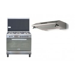 طباخ الغاز ونسا ٩٠ × ٦٠ - ستانلس ستيل + شفاط الطباخ المثبت أسفل الخزانة من لاجرمانيا – ٩٠ سم