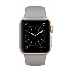 ساعة أبل الجيل الثاني بهيكل ذهبي من الألومنيوم وحزام رياضي باللون الرمادي - ٣٨ ملم