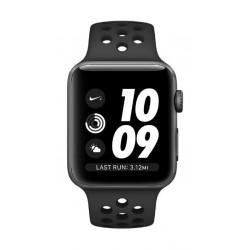 ساعة أبل نايك بلس الجيل الثالث مع هيكل من الألومنيوم الرمادي وحزام  نايك الرياضي باللون الأسود الفحمي - ٤٢ ملم MQL42AE/A