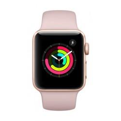 اطلب مسبقًا: ساعة أبل الجيل الثالث مع هيكل من الألومنيوم ذهبي وحزام رياضي باللون الوردي - ٤٢ ملم (MQL22LL/A)