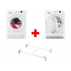 Wansa Washer and Dryer Stacking Unit - Stainless Steel + Frigidaire 8KG Front Loading Freestanding Dryer Condenser (FDC8203P) - White + Frigidaire 8kg Front Load Washing Machine - FWF81663W