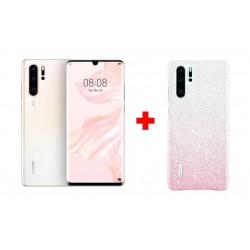 Huawei P30 Pro 128GB Phone - White + Huawei P30 Swarovski Case - Pearl Pink