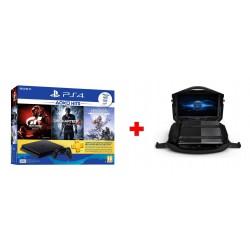 """Sony PlayStation 4 Slim 500GB + Gran Turismo + Uncharted 4 + Horizon Zero Dawn + 3 Months PSN Card + Gaems Vanguard Black Edition Bag With LED Display – 19-Inch Gaems Vanguard Black Edition Bag With LED Display – 19-Inch """