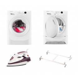Frigidaire 1800W 350ml Steam Iron (FD1124) + Wansa Washer and Dryer Stacking Unit - Stainless Steel + Frigidaire 8KG Front Loading Freestanding Dryer Condenser (FDC8203P) + Frigidaire 8kg Front Load Washing Machine - FWF81663W