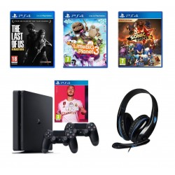 """The Last of Us (Remastered) - PS4 Game + Little Big Planet 3 - PS4 Game + PlayStation 4 1TB + FIFA 20 Standard Edition + 2 DS4 Wireless Controller + Sony Sonic Forces: Digital Bonus Edition PS4 Game (SOFT-PS4-SONIC-FOR) + Sades SA-701 T-Power Wired Gamin"
