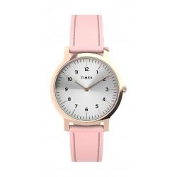 Timex 34mm Casual Ladies Analog Leather Watch (TW2U22700) - Pink