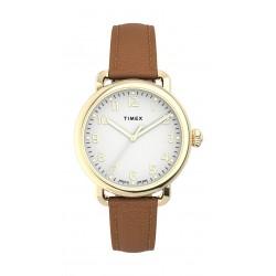 Timex 34mm Casual Ladies Analog Leather Watch (TW2U13300) - Brown