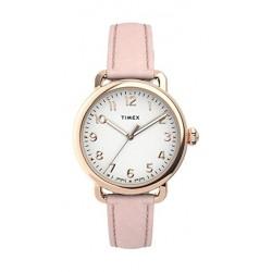 Timex 34mm Casual Ladies Analog Leather Watch (TW2U13500) - Pink