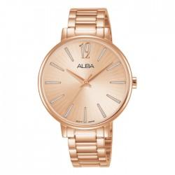 ساعة ألبا العصرية معدنية  بحجم 36 ملم وبعرض تناظري للنساء (AH8750X1)