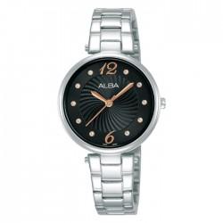 ساعة ألبا العصرية معدنية  بحجم 30 ملم وبعرض تناظري للنساء (AH8735X1)