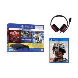 PlayStation 4 Slim 500GB Mega Pack Bundle With 3 Games (Spider Man + Uncharted 1/2/3 Collections + Ratchet & Clank) + Astro A10 Call Of Duty Cold Ward Headset - Black / Red + Call Of Duty: Black Ops Cold War - PS4 Game