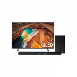 تلفزيون سامسونج الذكي QLED فائق الوضوح ٤كي ٥٥ بوصة + ساوند بار جاي بي إل ٢,١ قناة ٣٠٠ واط مع مضخم صوت لاسلكي