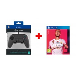 Bigben Nacon PS4 Wired Compact Controller - Black + FIFA 20 Standard Edition - PlayStation 4 Game