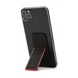 HANDLstick Smooth Leather Smartphone Holder- Black/Red