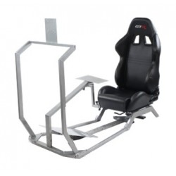 GTR Simulator GT Model with Mounts for Controls, Pedals and Display Adjustable Leatherette Seat - Black