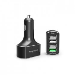RAVPower 54W, 4 USB Ports, QC3.0 Car Charger (RP-VC003) – Black