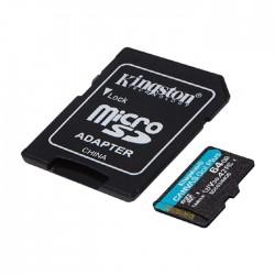 سعر بطاقة ذاكرة ميكرو اس-دي-اكس-سي بسعة 64 جيجابايت + محوّل من كينغستون  في الكويت | شراء اون لاين - اكسايت