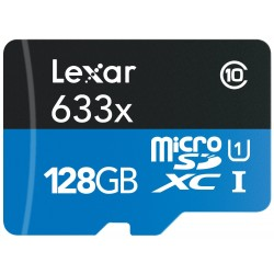 بطاقة ذاكرة مايكرو اس دي اتش سي/ مايكرو اس دي أكس سي عالية الأداء من ليكسر- ١٢٨ جيجابايت